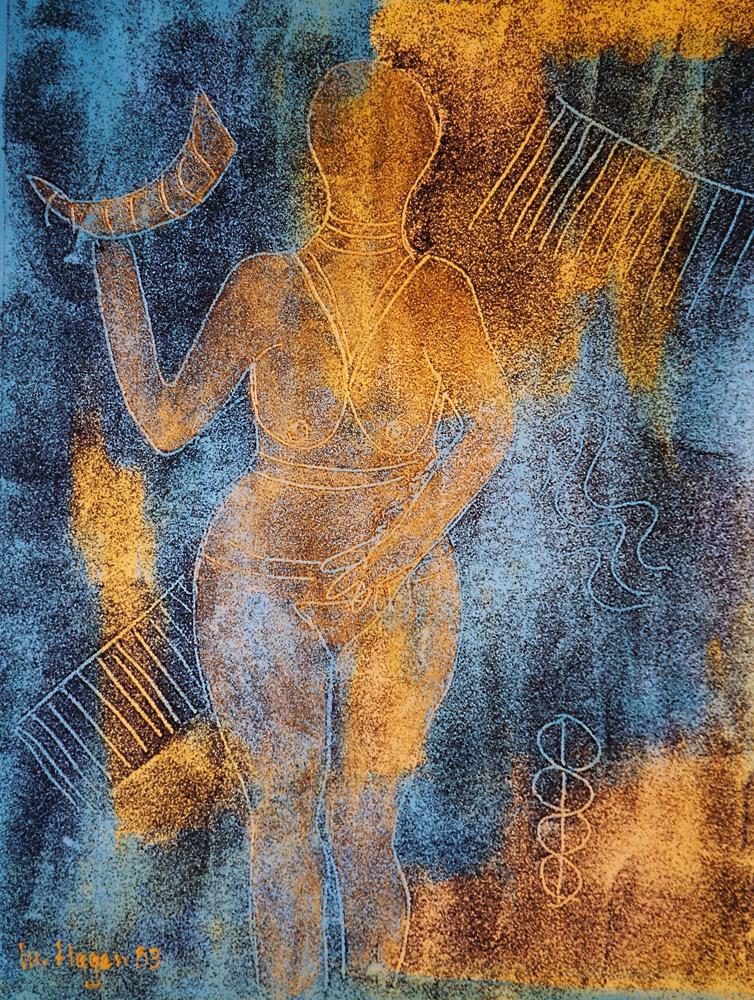 Acryl mit Lavasteinchen | 40 cm x 50 cm | Leinwand